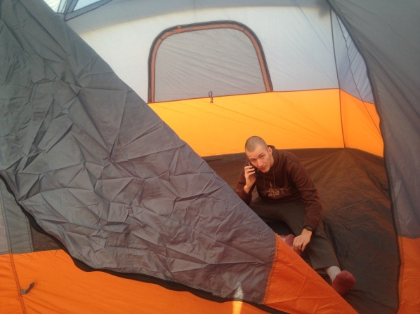 Josh in tent